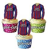AK Giftshop PRECUTUTHappy Birthday - Camisas de fútbol comestibles para magdalenas, decoraciones de tartas, colores Barcelona (paquete de 12)