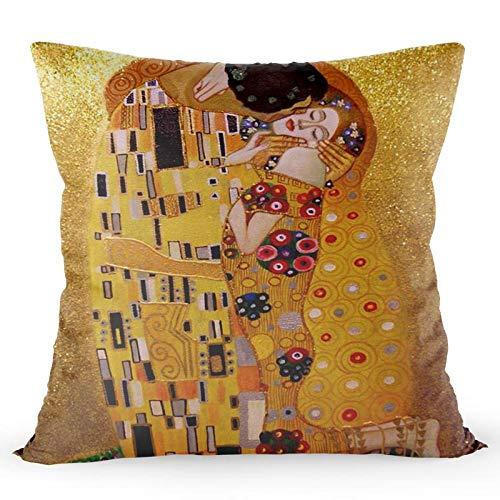 LIFUQING Gustav Klimt Kiss Funda De Almohada Pintura Al Óleo Decoración para El Hogar Funda De Almohada Funda De Almohada De Tela De Seda Dorada Funda de cojín 17.7 x 17.7 Pulgadas