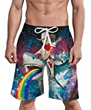 Mens Summer Swim Trunks Cat Icon on Camo Miscellaneous Adorable Quick Dry Funny Beach Board Shorts with Mesh Lining