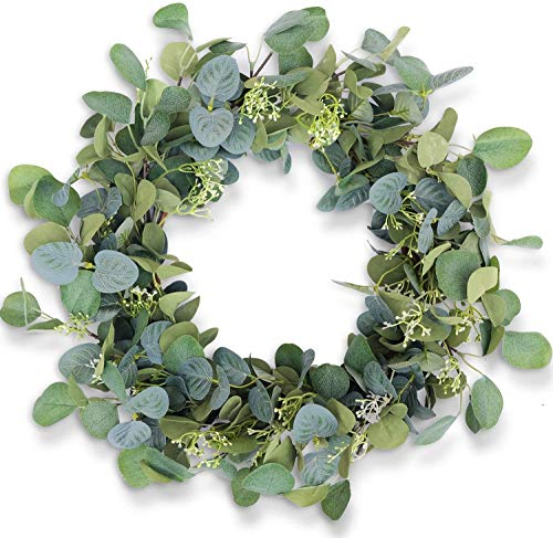 HomeKaren Eucalyptus Wreaths for Front Door 20', Handmade Green Leaves Wreath for Summer, Spring and All Seasons, Greenery Floral Wreath for Wall and Outside