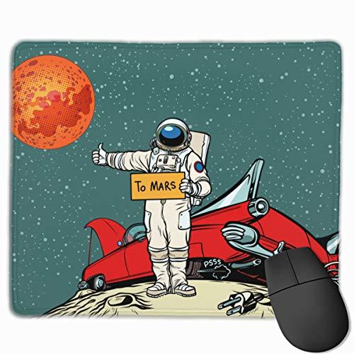 HUAYEXI Stoff Mousepad,Der Weg zum Mars , Auto brach im Weltraum zusammen, Astronaut Hitchhiker.,Rutschfest eeignet für Büro und Gaming Maus