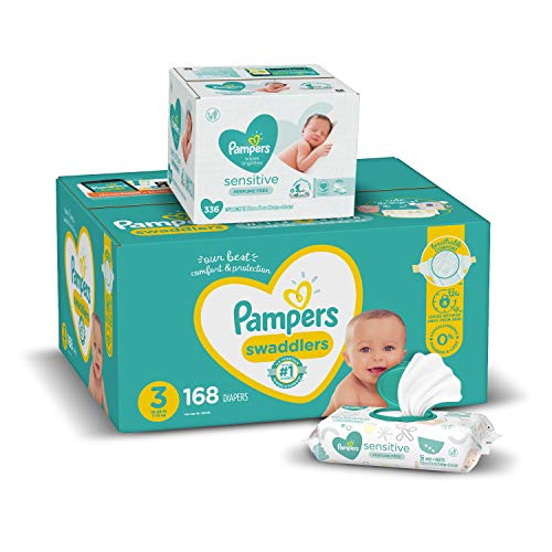Diapers Size 3 168 Count and Baby Wipes  Pampers Swaddlers Disposable Baby Diapers and Water Baby Wipes Sensitive PopTop Packs 336 Count Packaging May Vary