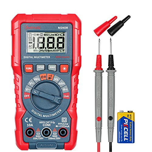AstroAI Multimeter TRMS 2000 Counts Digital Multimeter with DC AC Voltmeter and Auto Ranging Tester ; Measures Voltage, Current, Capacitance; Tests Live Wire, Continuity