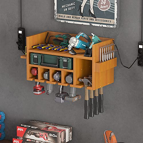Comtest Power Tool Organizer Wall Mount Drill Charging Station Garage Warehouse Multifunction Tools Storage Cabinets Natural