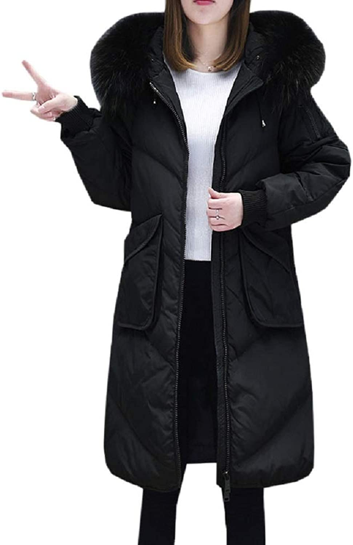 Aehoor Winter Womens Hooded Furcollar Long Thick Fluffy Warm Straight Down Jacket