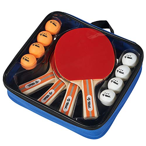 Rally & Roar Premium Table Tennis Paddle Set, 4 Premium Paddles, 8, 3-Star Balls, Carry Case - Wooden 5-ply Table Tennis Paddles, Inverted Rubbers for 4 Player Games - Premium Indoor Play Equipment