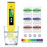 solawill pH Messgerät, PH Wert Messgerät mit LCD-Display Tragbarer ATC Wasserqualität Tester Digitaler pH Messer Monitor für Trinkwasser/Aquarium/Schwimmbad/Labor Wasser(Gelb)