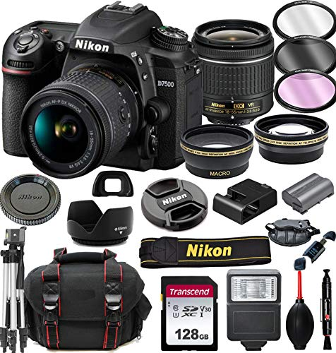 Nikon D7500 DSLR Camera with 18-55mm VR Lens + 128GB Card, Tripod, Flash, ALS Variety Lens Cloth, and More