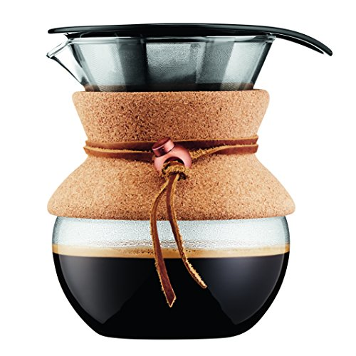 Bodum Pour Over Coffee Maker with Permanent Filter, 17 oz, Cork Band