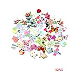 Fengyuanhong 50PCS / Set de álbum de Recortes de Botones de Madera Mixta Conejo Animales de la Jirafa Jefe de Elefantes Botones de Costura Accesorios de Bricolaje