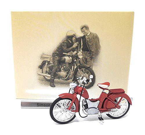 Motorrad Moped Simson SR2 dunkelrot Atlas Modellmotorrad DDR 1:24