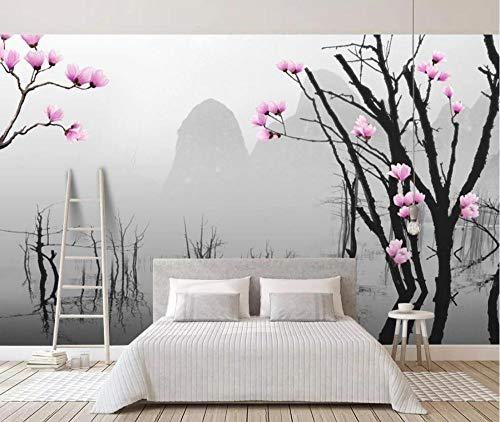 Fototapete 3D Effekt Schwarzer Und Weißer Toter Baum -300Cmx210Cm Tapeten Bäume Berglandschaft Xxl Wandbild Wandtapete Schlafzimmer Modern Wohnzimmer Hintergrundbild
