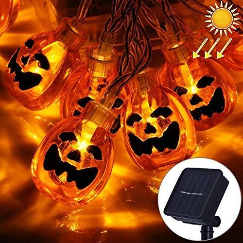 ZLININ La luz decorativa, luz de la secuencia 5m diseño de la calabaza de Halloween amarillo claro Serie Solar Powered luz de la secuencia del LED, 20 LED Partido Puntales Hada noche de la decoración