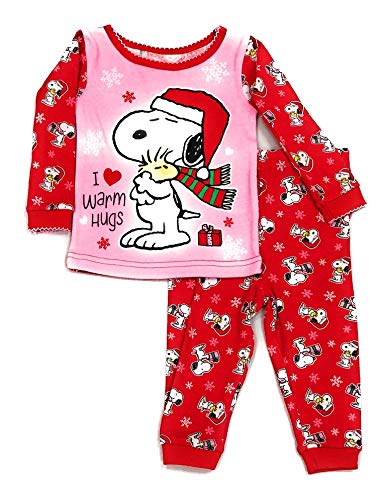 Baby Girls Peanuts Snoopy Christmas I Love Warm Hugs Cotton Pajamas (12 Months) Pink Red