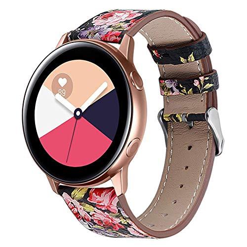 Correa de Cuero Compatible con Huawei Watch GT/GT2 42mm/Samsung Galaxy Watch Active 2/Galaxy Watch 42mm Banda de Reloj de Piel Liberación Rápida para Hombre y Mujer-Negro/Flor Roja