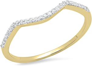 Dazzlingrock Collection 0.12 Carat (ctw) 14K Gold Round Cut Diamond Ladies Anniversary Wedding Stackable Band Guard Ring