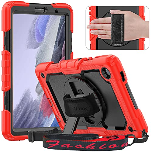 Timecity Case Compatible with Samsung Galaxy Tab A7 Lite 8.7  2021 Released Model SM-T220 T225 T227, with Built-in Screen Protector & Swivel Kickstand Hand & Shoulder Strap Protective Kids Case-Red