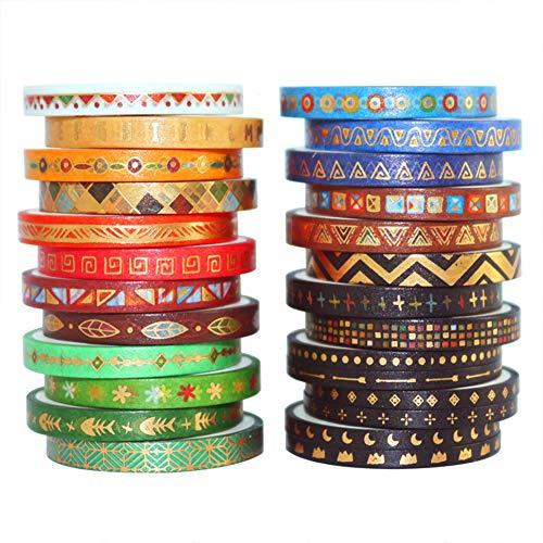 26 rollos de cinta Washi, conjunto de cintas Washi vintage, cinta adhesiva decorativa de lámina dorada, cinta de álbum de...