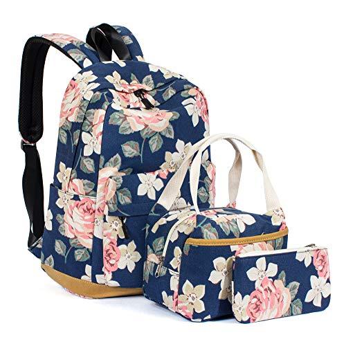 Leaper Girls Floral School Backpack Daypack Bookbag Lunch Bag Purse Dark Blue