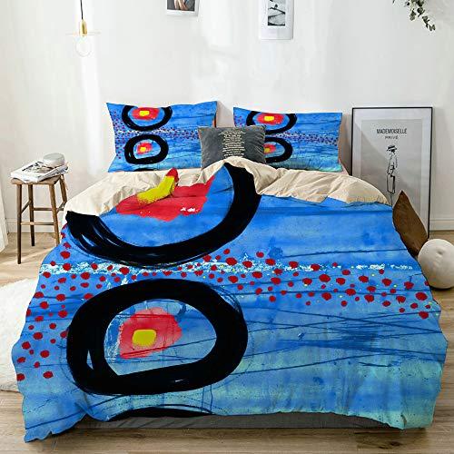 LISNIANY Ropa de Cama,Abstracto Moderno Vistoso Negrita vívido dramático extraño Azul Amarillo Rojo círculos artístico Cuadrado,Funda nórdica de Microfibra(140 * 200cm,50 * 80cm)