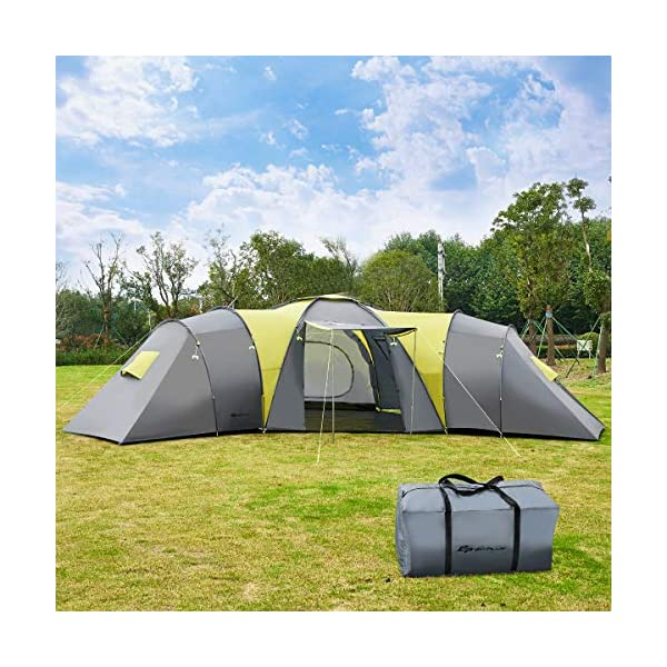 COSTWAY 9 Person Family Tunnel Tent with 3 Bedrooms & 1 Large Living Room, Sun Canopy, Waterproof Camping Tent with Carry Bag, 205cm Peak Height for Outdoors Backpacking, Hiking and Trekking
