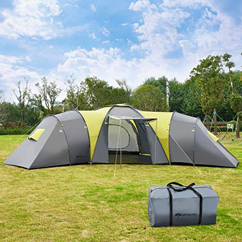 COSTWAY 9 Person Tunnel Tent with 3 Bedrooms 1 Living Room, Sun Canopy,...