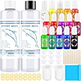 Epoxy Resin and Resin Pigment Set, Flasoo Crystal Clear Epoxy Resin with 15 Colors Liquid Epoxy Resin Dye, Resin Art Supplies Starter Kit for Art Crafts, Tumblers, Jewelry Making, River Table, Coating
