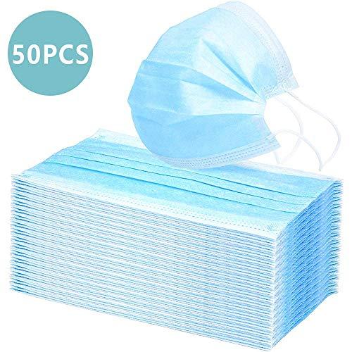 50 stuks wegwerpmasker gezichtsmasker 3-laags mondbescherming stofbescherming infectiebescherming beschermmasker adembeschermingsmasker met oorlussen beschermt tegen vuil (blauw)