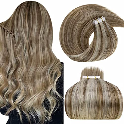 LaaVoo Extension Cheveux Adhesive Highlight Brun Clair Mixte Blond Platine Extension Adhesive Tie And Dye Bande Adhesive Extension Cheveux 20Pièces Extension Cheveux Tape 2,5g/pc 50G 22Pouce