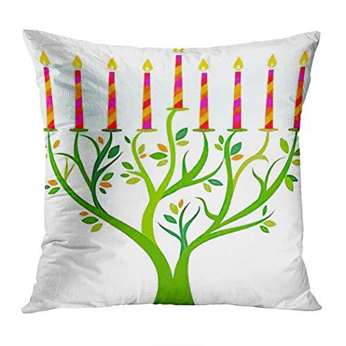 Chanukah Throw Pillow Cover,Hanukkah Menorah Tree Candles Chanukah,Cushion Cases Shams for Indoor Outdoor Home Decor Living Room Bedroom Office Cotton Pillowcase,16'x16'