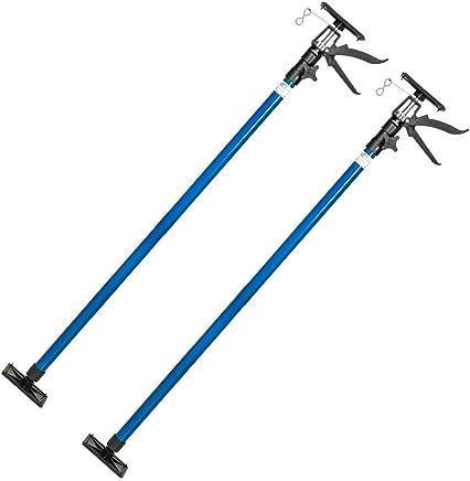TecTake Deckenstütze Montagestütze mit je 30 kg Tragkraft mit Blitzspanner 115 bis max. 290 cm - diverse Modelle - (2er Set Blau | Nr. 401692)