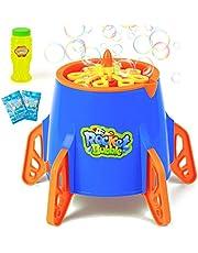 Lynkktoy Bubble Machine, Automatic Rocket Bubble Maker Blower 2500+ Bubbles Per Minute Bubble Toy for Kids Outdoor Party Blue