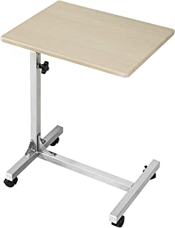 Coavas Laptop Desk Medical Adjustable Height Over Bed Table Multi-Purpose Portable Sofa Side Table with Wheels, Beech (18.9x14.6x26.4-31.1 inch)