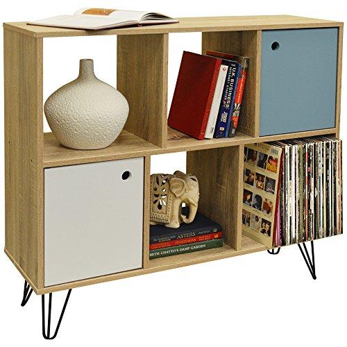 Watson Industrial – planken in retro-stijl met 2 deuren en 4 vakken/vinyls LP – finish eikenhout