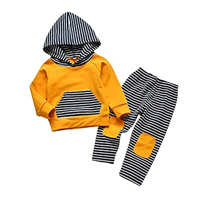 Toddler Infant Baby Boy Clothes Striped Long Sleeve Hoodie Tops Sweatsuit Pants Outfit Set (18-24 Months) Royal Blue by