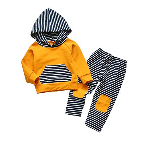 Toddler Infant Baby Boy Clothes Striped Long Sleeve Hoodie Tops Sweatsuit Pants Outfit Set (0-6 Months) Royal Blue