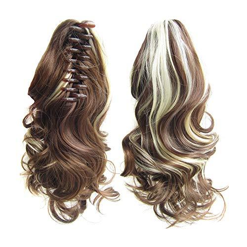 Beashine Queue De Cheval Cheveux Bouclés,Extensions De Cheveux Bouclés Naturels Bouclés Droits,Les Petites Boucles De Queue De Cheval à Pince Ondulée sont Naturellement pour Les Femmes Filles(12H613)