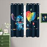 MRFSY Cortinas aisladas térmicas Lilo & Stitch ojales con aislamiento térmico para oscurecimiento de la habitación, cortinas para sala de estar de 132 x 213 cm