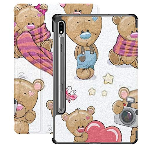 Funda Galaxy Tablet S7 Plus de 12,4 Pulgadas 2020 con Soporte para bolígrafo S, Conjunto de Oso de Peluche de Dibujos Animados Lindo en Funda Protectora con Soporte Delgado para Samsung