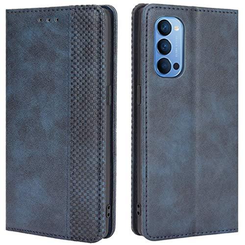 HualuBro Handyhülle für Oppo Reno 4 Pro 5G Hülle, Retro Leder Stoßfest Klapphülle Schutzhülle Handytasche LederHülle Flip Hülle Cover für Oppo Reno 4 Pro 5G Tasche, Blau