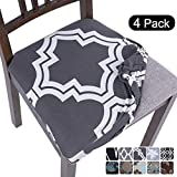 SearchI Stretch Printed Dining Room Chair Seat Covers, Removable Washable Anti-Dust Chair Seat Covers Upholstered Chair Seat Cushion Slipcovers for Dining Room, Kitchen, Office(Set of 4)