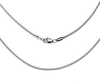 AmyRT Jewelry 1.1mm Titanium Steel Silver Box Chain Necklaces for Women 16 to 30 Inches