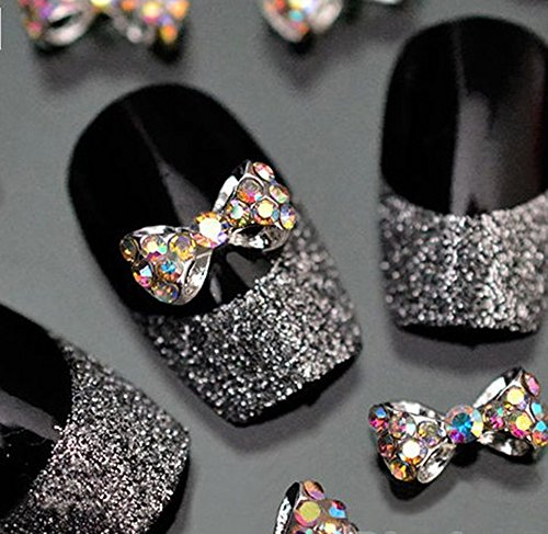 Joyeee 10-Piece 3D Nail Art Decorations Acrylic Rhinestone Mix Design Nail DIY Decor Accessories - Bowtie
