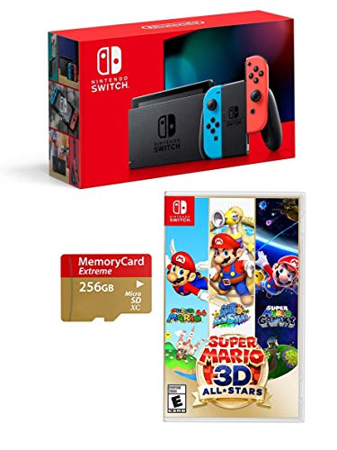 1.Newest Nintendo Switch 3 Items Bundle: Nintendo Switch Console Neon Red and Blue Joy-con,Super Mario 3D All-Stars ;Woov Micro SD 256 GB