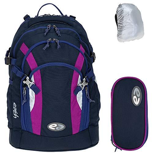 3 Teile Set YZEA Schulrucksack Rucksack Ace mit Etui Box Mäppchen und Regenhülle (Style)