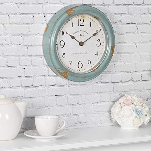 FirsTime & Co. Patina Wall Clock, 8.5', Aged Teal