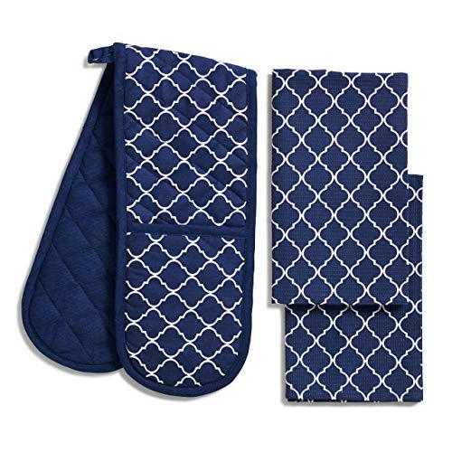 Oven gloves heat resistant 100% GOTS organic cotton. Blue oven glove and tea towel set by HomeAvenueDesigns double oven gloves heat resistant, extra absorbent tea towels (3 piece set, Blue)