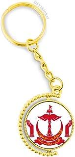 Bandar Seri Begawan Brunei National Emblem Metal Key Chain Ring Golden Keyholder