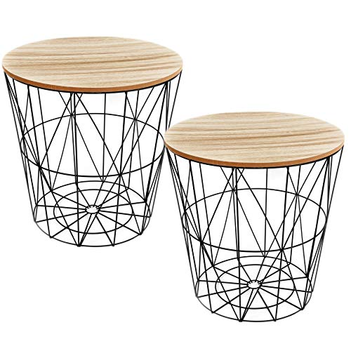 Carousel Home and Gifts Pack of 2 Round Wooden Top Geometric Wire Occasional Side Table