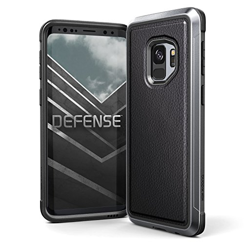 Raptic Lux, Samsung Galaxy S9 (Formerly Defense Lux) - Military Grade Drop Tested, Anodized Aluminum, TPU, and Polycarbonate Protective Case, Samsung Galaxy S9, Black Leather
